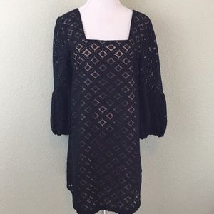 Anna Sui Anthropologie Black Lace Dress Size 6